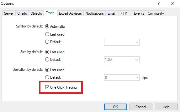 one click trading checkbox mt4