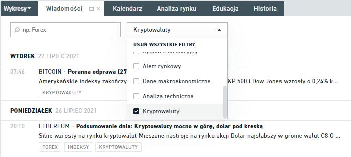 Kryptowaluty - sekcja wiadomości na platformie xStation 5